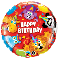 Happy Birthday Party Animals Foil Helium Balloon